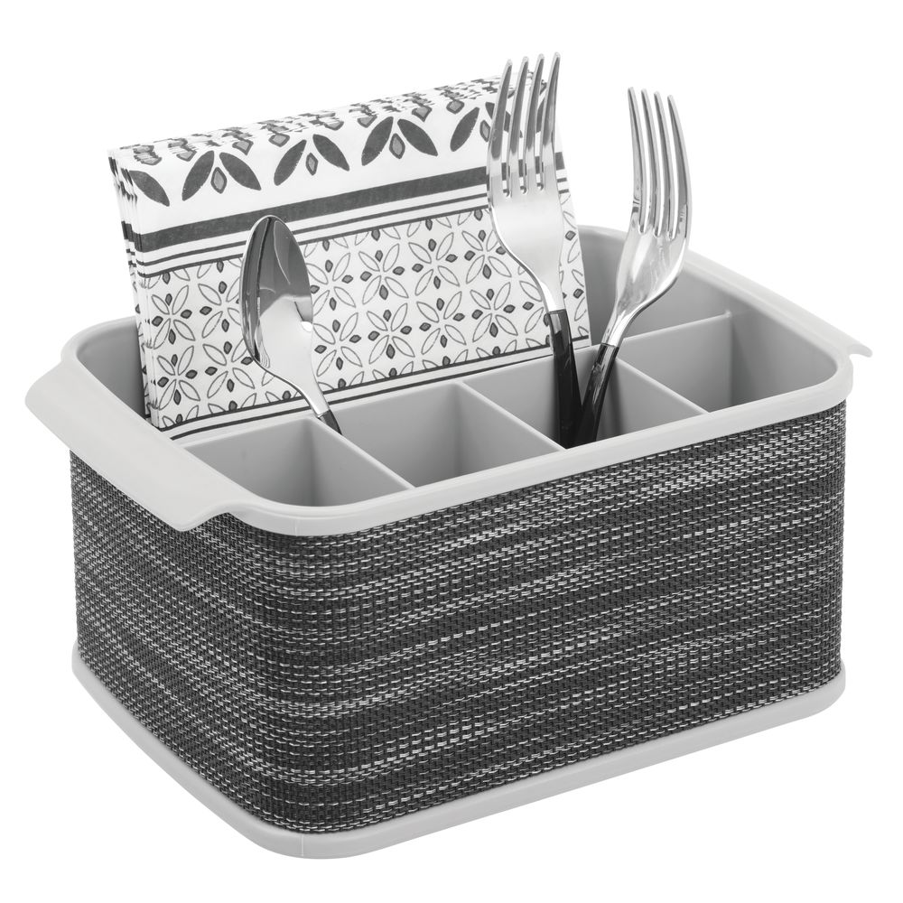Plastic Kitchen Cabinet Cutlery Flatware Caddy, Decorative Woven Accent in Gray/Charcoal, 6.5