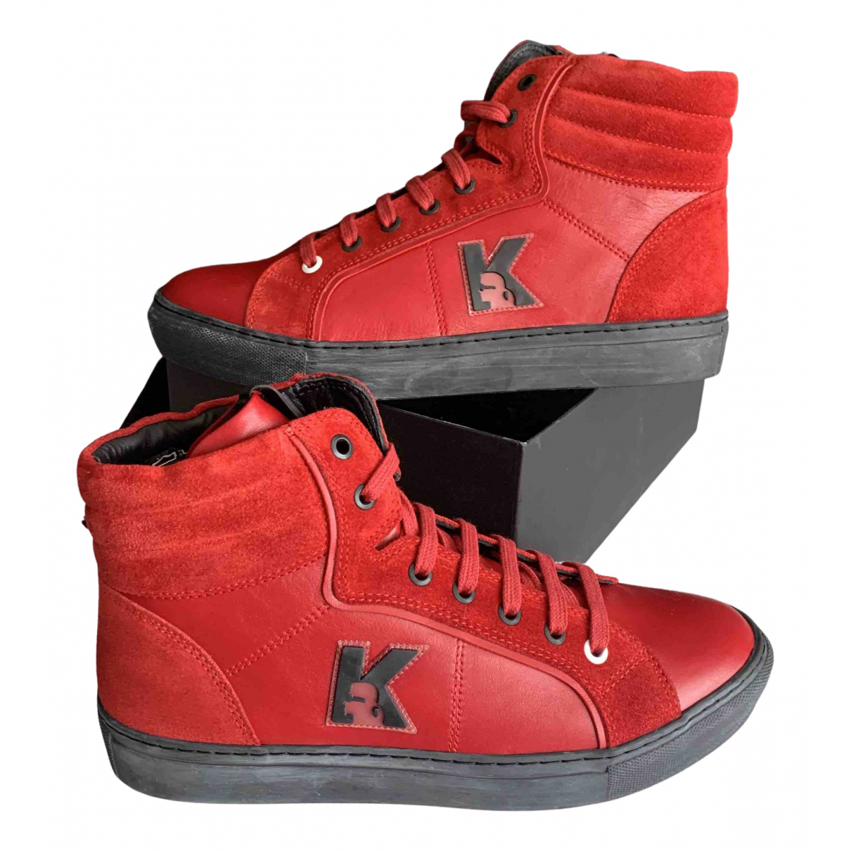 Karl Lagerfeld \N Red Leather Trainers for Women 39 EU