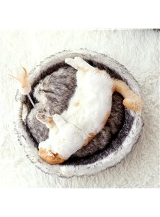 Washable Fluffy Round Shape Indoor Cat Bed