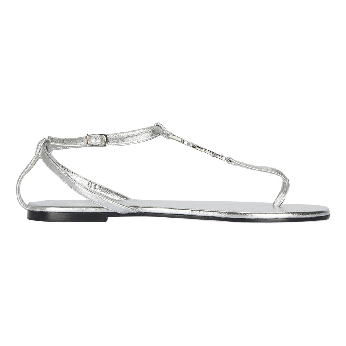 Saint Laurent N Silver Leather Sandals for Women 4.5 UK