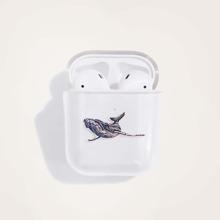 1pc Whale Print Clear AirPods Case