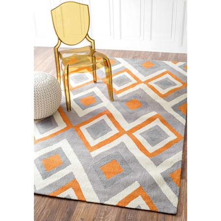 nuLoom Hand Hooked Anya Rug, One Size , Orange