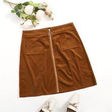 Faldas Extra Grande Cremallera Liso Casual