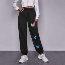 Butterfly Print Elastic Waist Sweatpants