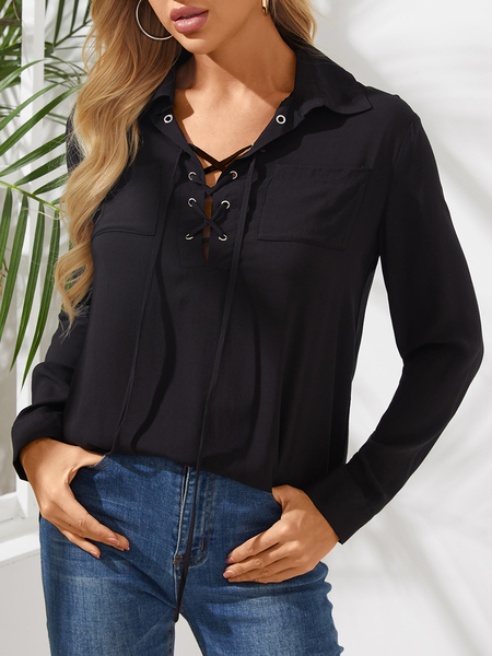 Yoins Black Lace-up Design Plain Long Sleeves Blouse