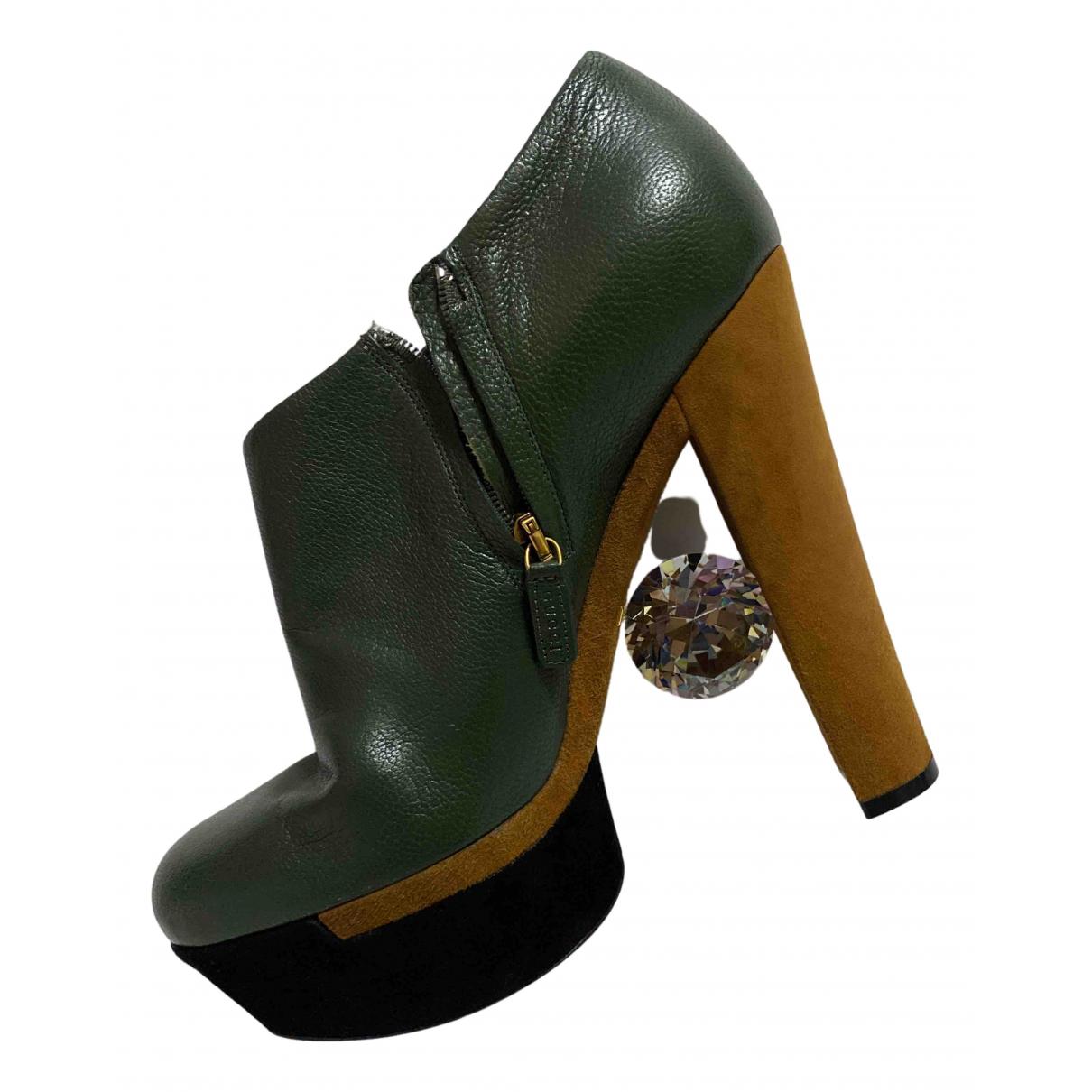 Gucci - Boots   pour femme en cuir - vert