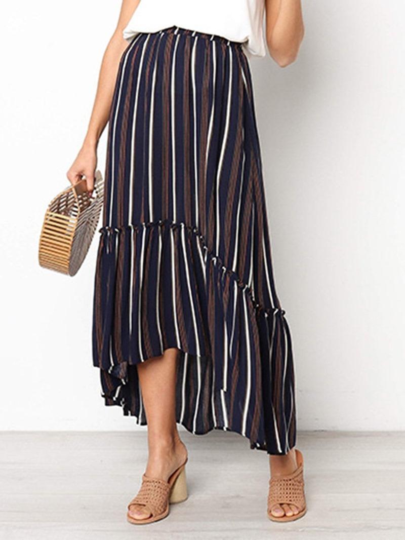 Ericdress Ankle-Length Print Stripe Asymmetrical Skirt