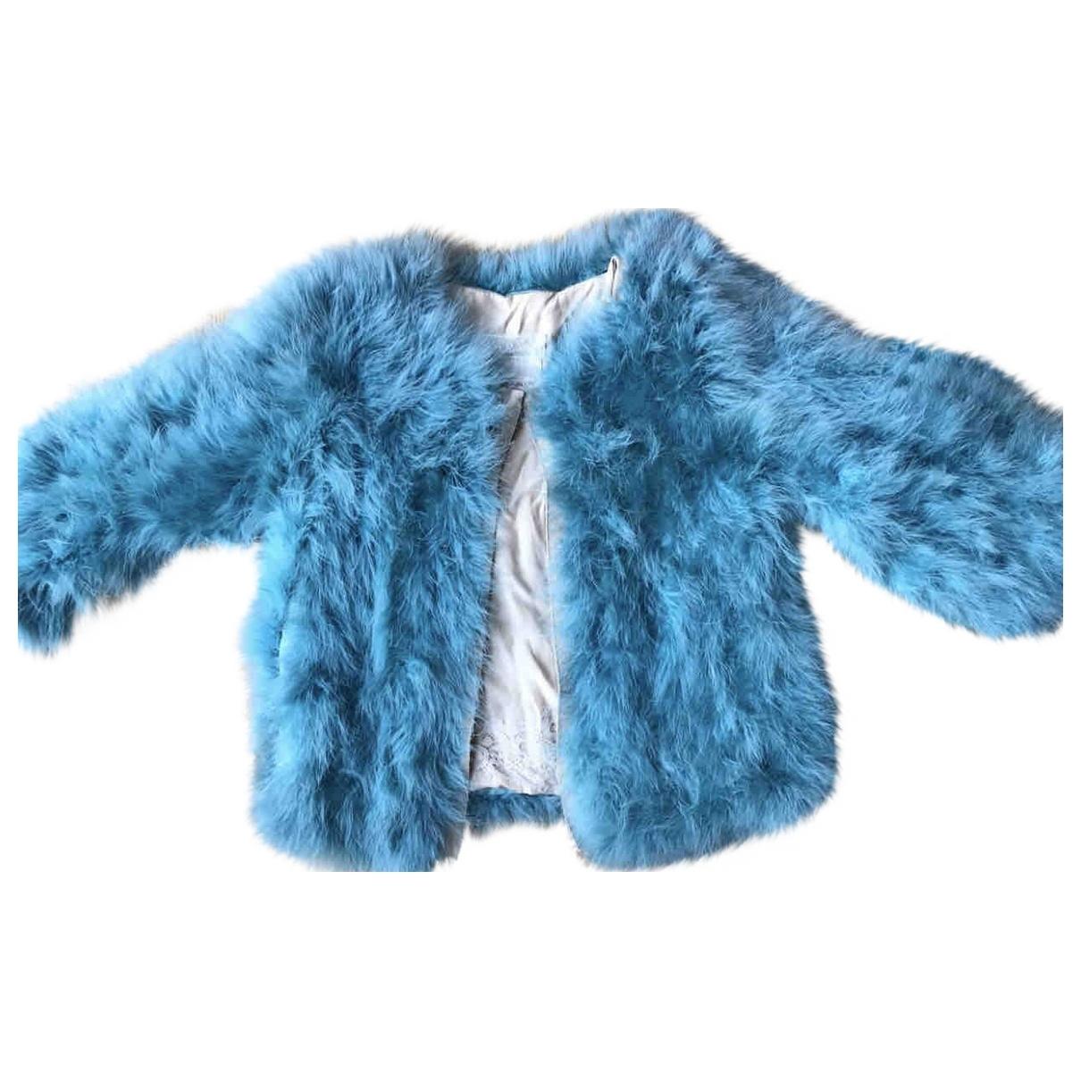 Erika Cavallini - Veste   pour femme en fourrure - turquoise