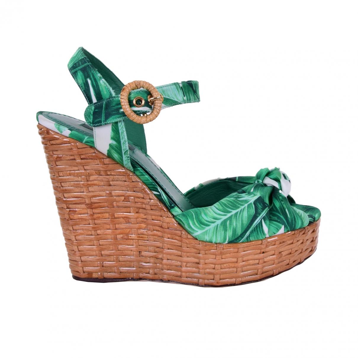 Dolce & Gabbana \N Green Cloth Sandals for Women 36 EU