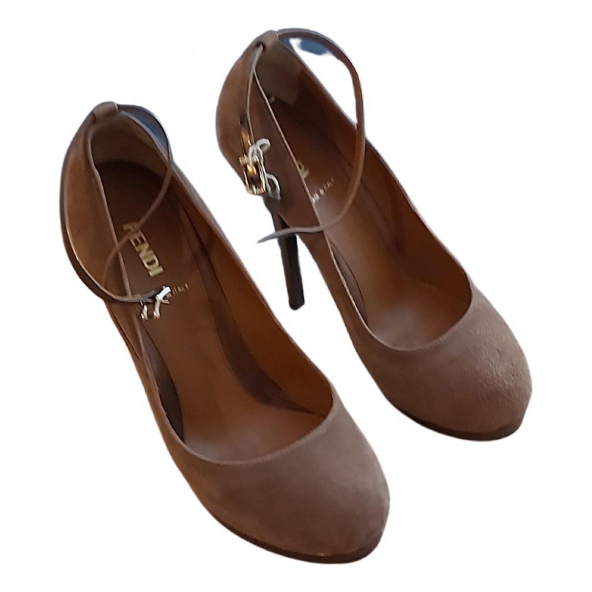 Fendi N Camel Leather Heels for Women 37.5 EU