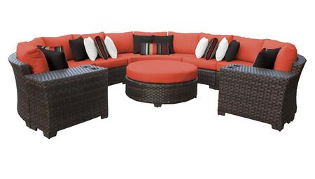 RIVER-08b-TANGERINE Kathy Ireland Homes and Gardens River Brook 8-Piece Wicker Patio Set 08b - 1 Set of Truffle and 1 Set of Persimmon