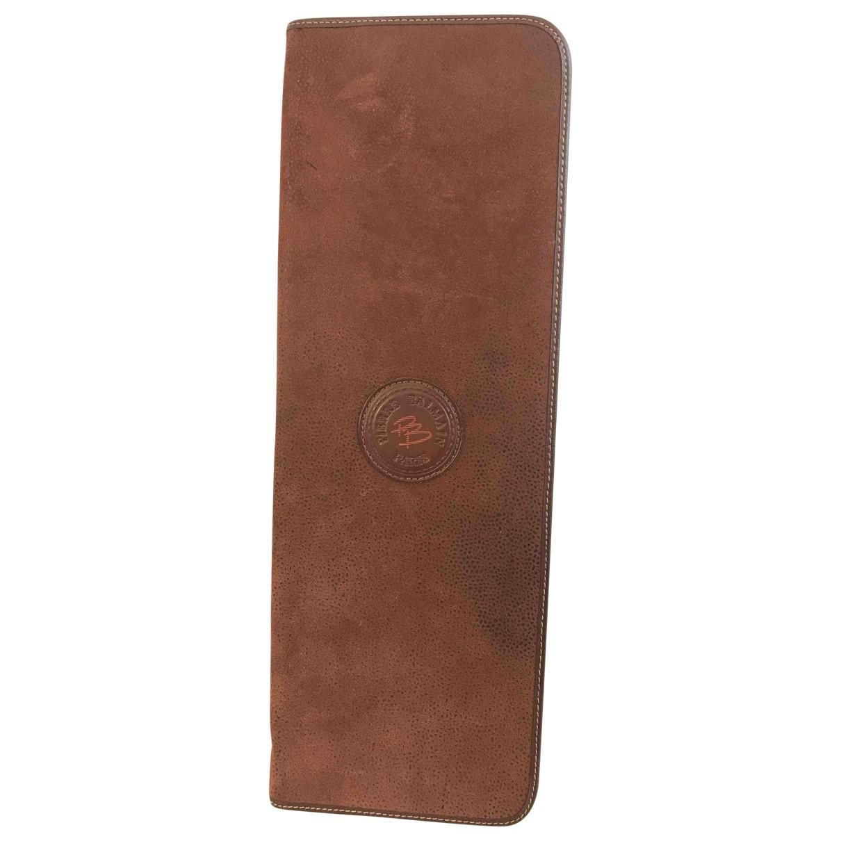 Balmain - Petite maroquinerie   pour homme en cuir - marron
