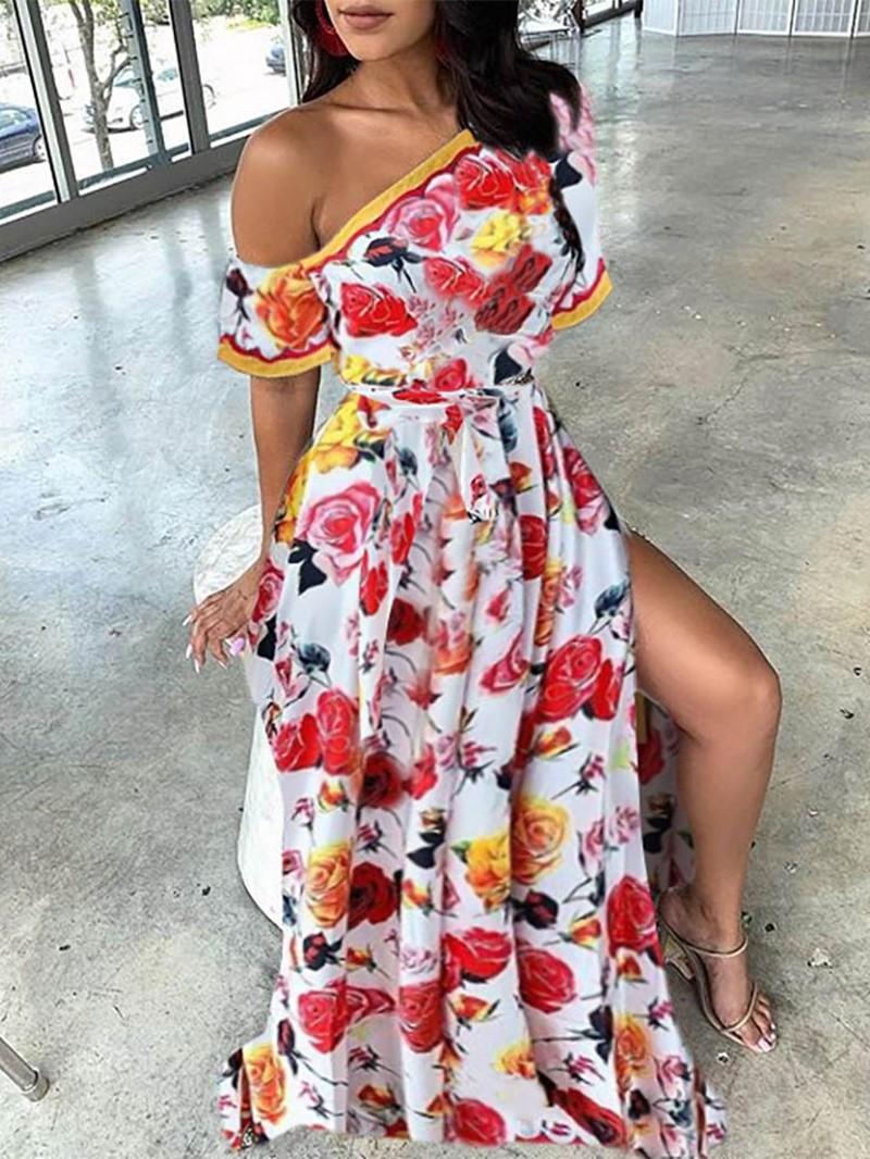 Ericdress Oblique Collar Floor-Length Print Party Floral Split Dress