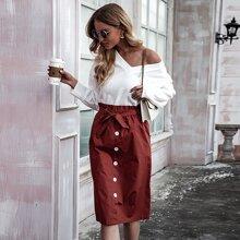 Paper Bag Waist Button Front Belted Skirt