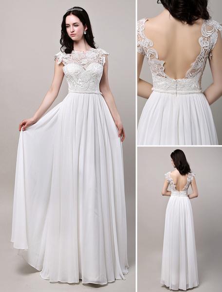 Milanoo Vestido de novia de encaje con escote transparente hasta el suelo
