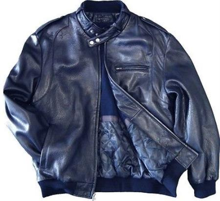 Mens Leather Bomber Jacket Soft Lambskin Blue tanners