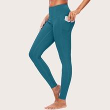 Queenieke leggings deportivos con puntada con bolsillo con malla
