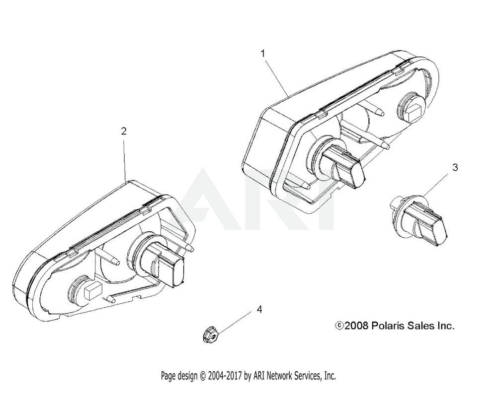 Polaris OEM 2411191 Asm., Taillight, RH | [Incl. 3, Bulb]