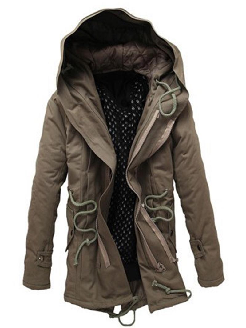 Ericdress Hooded Windproof Thicken Warm Mens Winter Coat
