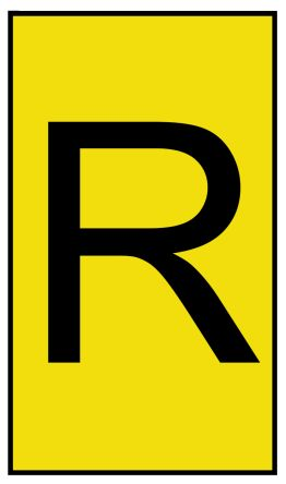 HellermannTyton Ovalgrip Slide On Cable Marker, Pre-printed R Black on Yellow 1.7 → 3.6mm Dia. Range