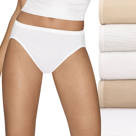 Hanes Ultimate Cool Comfort Cotton Ultra Soft 5 Pack High Cut Panty, 9 , Beige