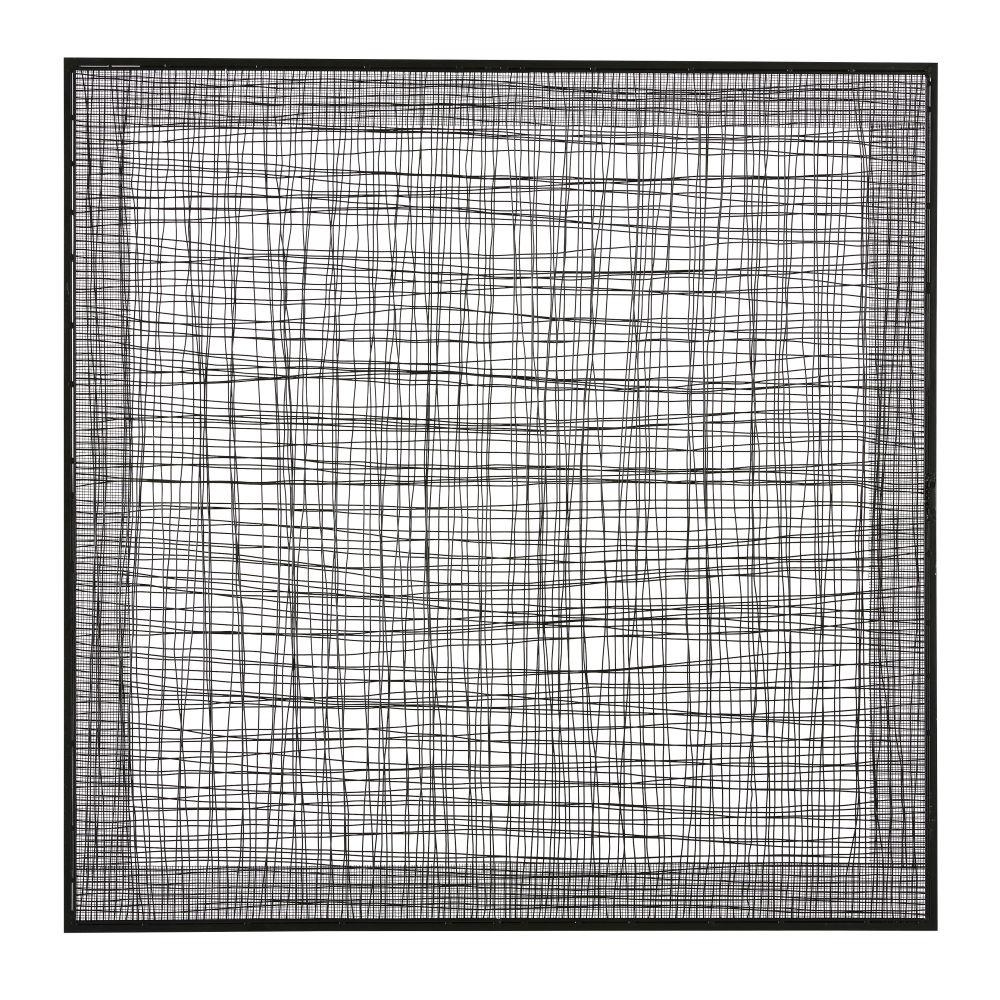 Wanddeko Flechtwerk aus Metall, schwarz 100x100