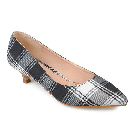 Journee Collection Womens Bohme Pumps Pointed Toe Kitten Heel, 7 1/2 Medium, Black