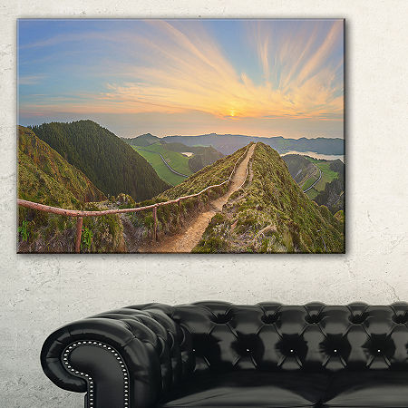 Designart Hiking Trail And Beautiful Lakes Canvas Art, One Size , Green