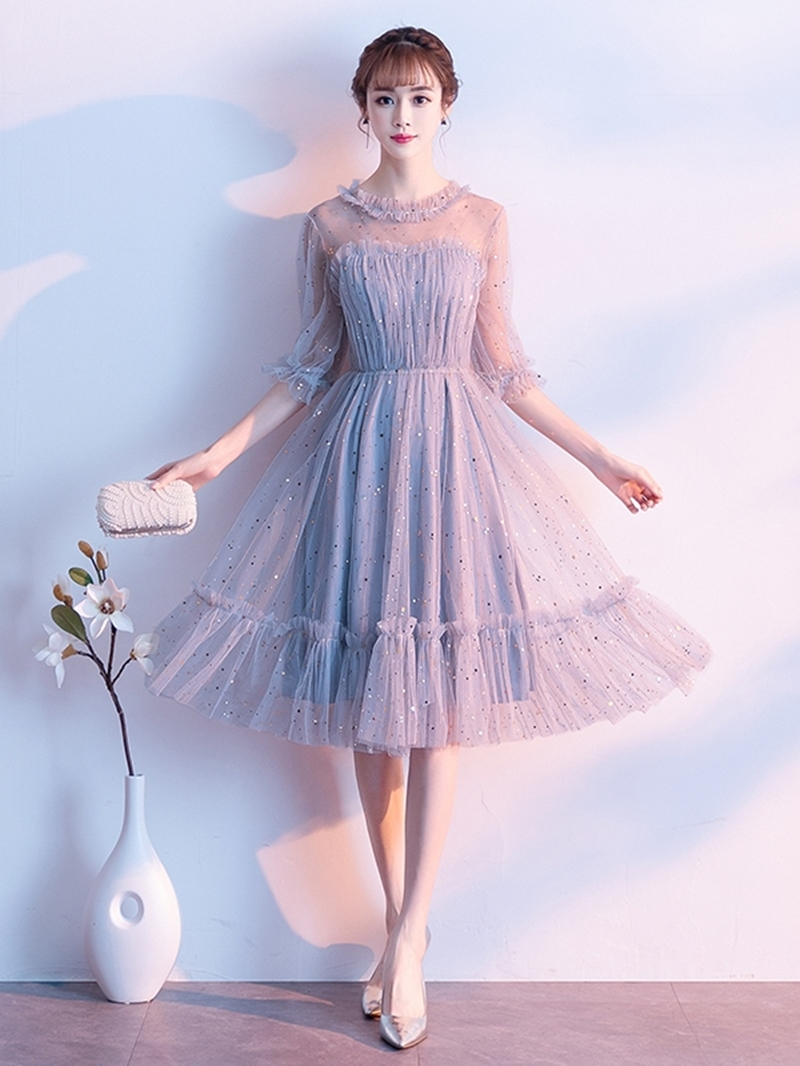 Ericdress Pleats Jewel Half Sleeves Tea-Length Homecoming Dress