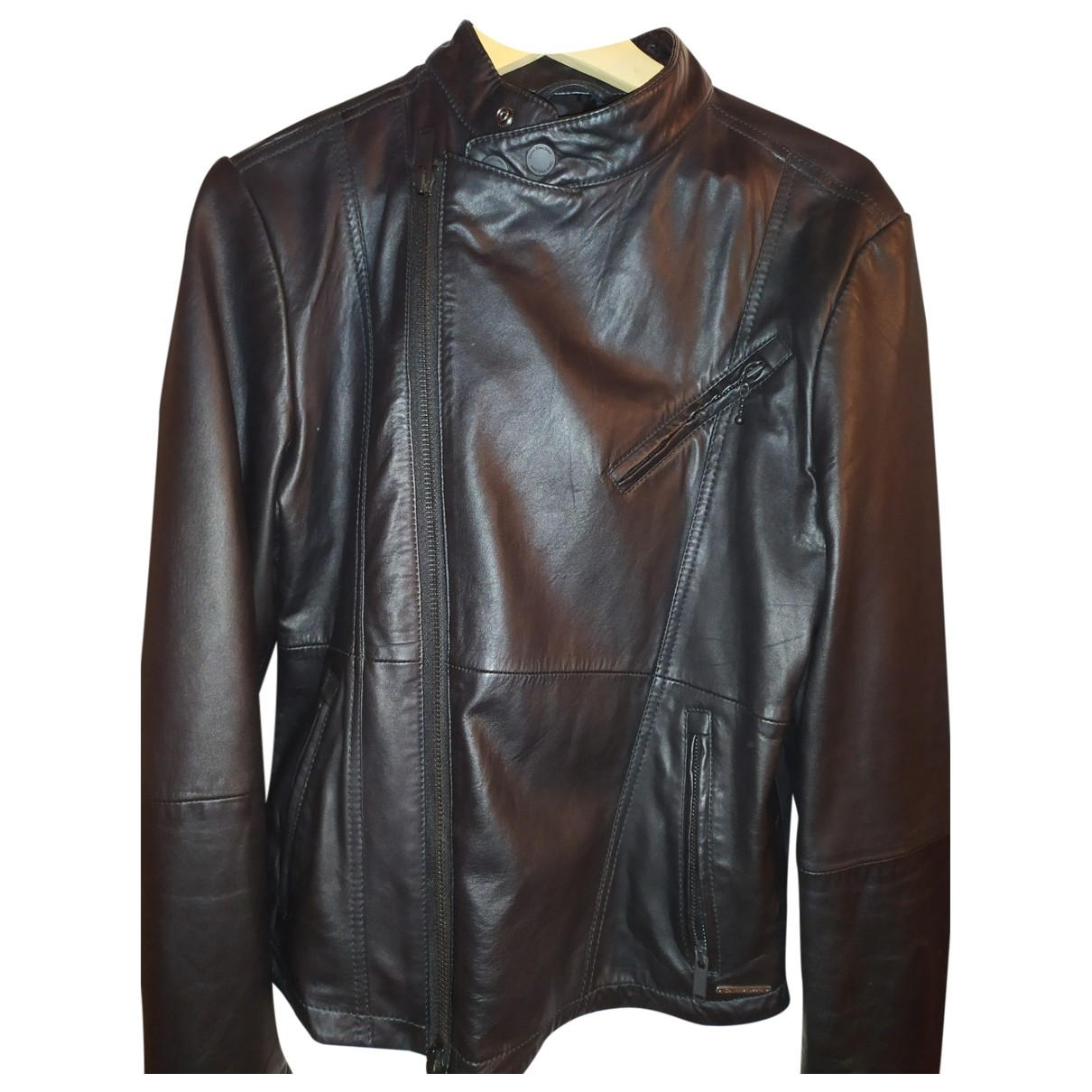 Strellson \N Black Leather jacket  for Men S International