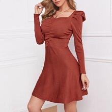 Geruescht Einfarbig Elegant Pulloverkleider