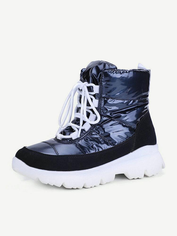 Women Warm Lining Slip ResistantWaterproof Lace Up Platform Short Snow Boots