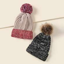 2pcs Pom Pom Decor Cuffed Beanie