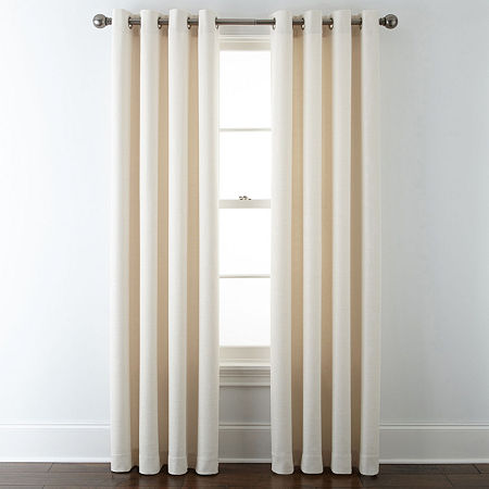 Liz Claiborne Quinn Basketweave Room-Darkening Grommet Top Single Curtain Panel, One Size , White