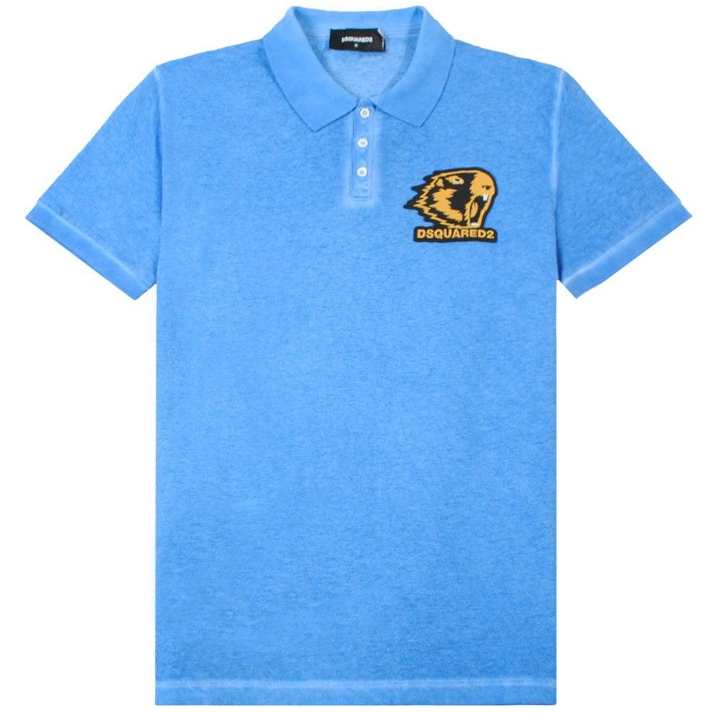 Dsquared2 Beaver Graphic Logo Polo Shirt Colour: BLUE, Size: EXTRA EXTRA LARGE