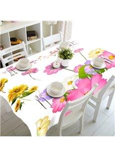 Colorful Little Flowers Prints Durable Home Decorative 3D Tablecloth