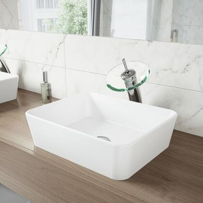 VGT1299 Marigold Matte Stone Vessel Bathroom Sink with Waterfall Faucet in a Chrome Finish  Pop-Up Drain