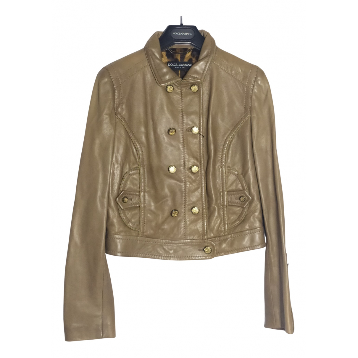 Dolce & Gabbana - Veste   pour femme en cuir - beige