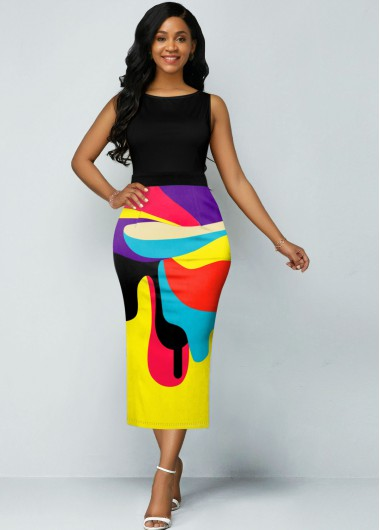 Sleeveless Rainbow Color Geometric Print Dress - 10