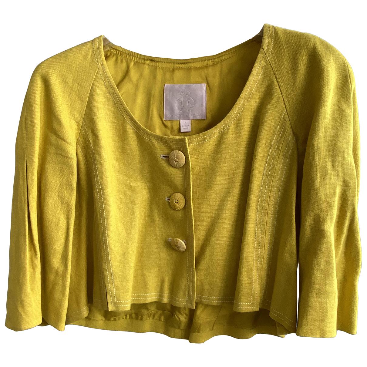 Rebecca Taylor - Manteau   pour femme en lin - jaune