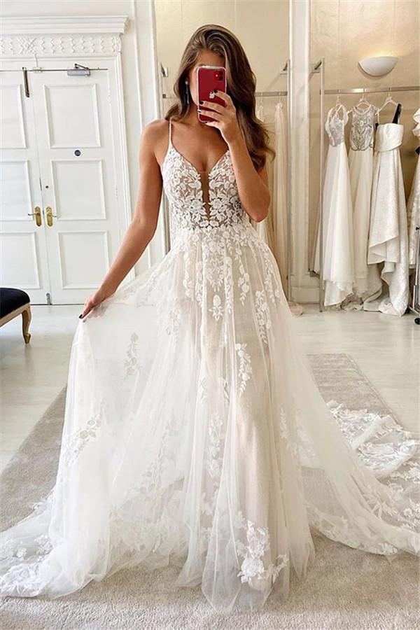 Vestido de novia nupcial de tul con cuello en V y apliques de encaje