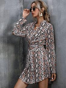 Notched Neck Snakeskin Print Belted Dress