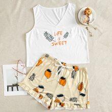Schlafanzug Set mit Obst und Buchstaben Grafik und Rueschen