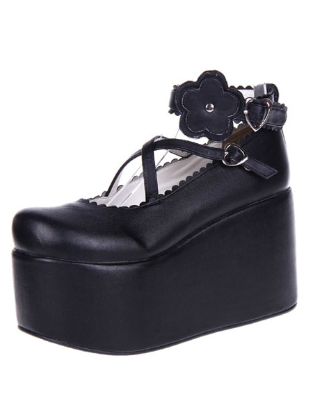 Milanoo Black Lolita Shoes Platform PU Lolita Flatform Shoes