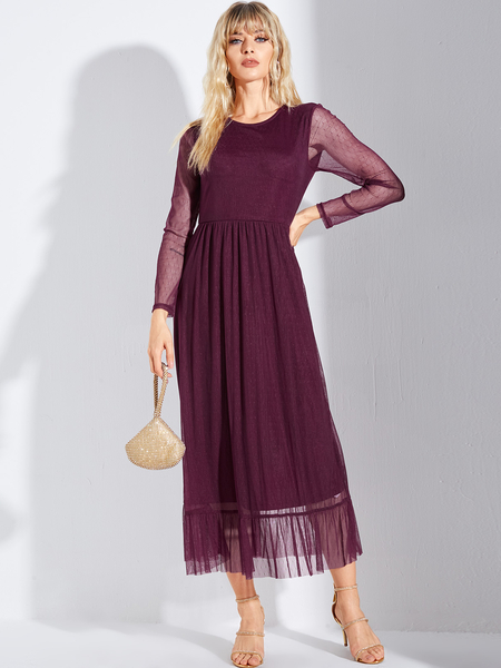 YOINS Burgundy Mesh With Lining Round Neck Long Sleeves Dress
