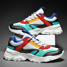 Men Lace-up Front Mesh Panel Sneakers