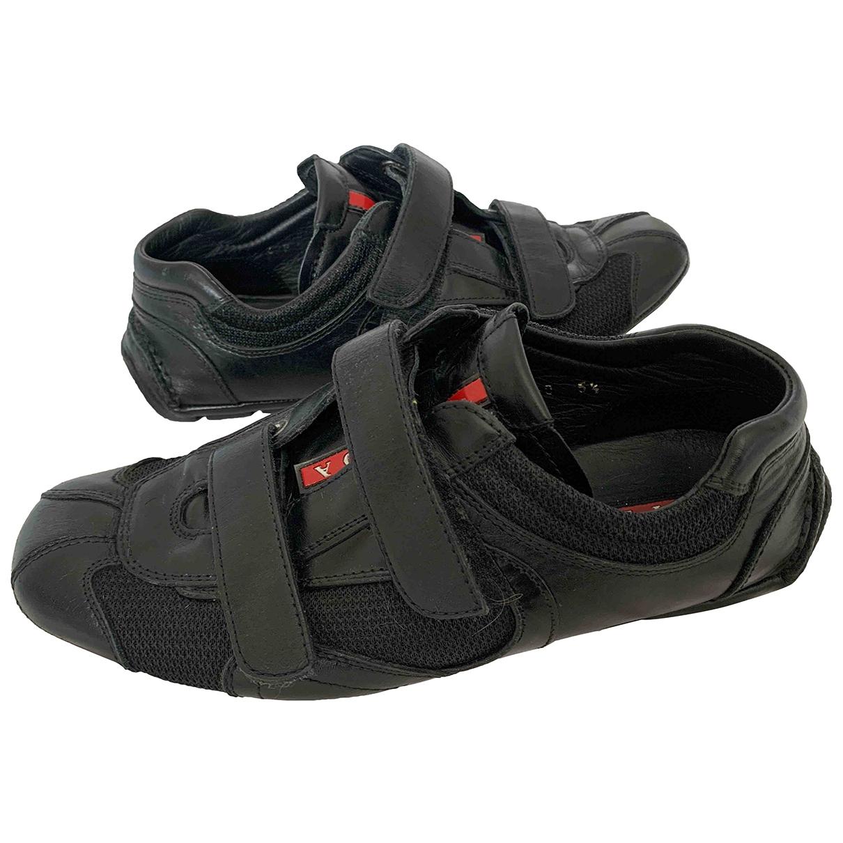 Prada - Baskets   pour femme en cuir - noir