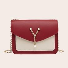 Faux Pearl Decor Chain Crossbody Bag