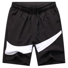 Shorts de cintura con cordon panel en contraste