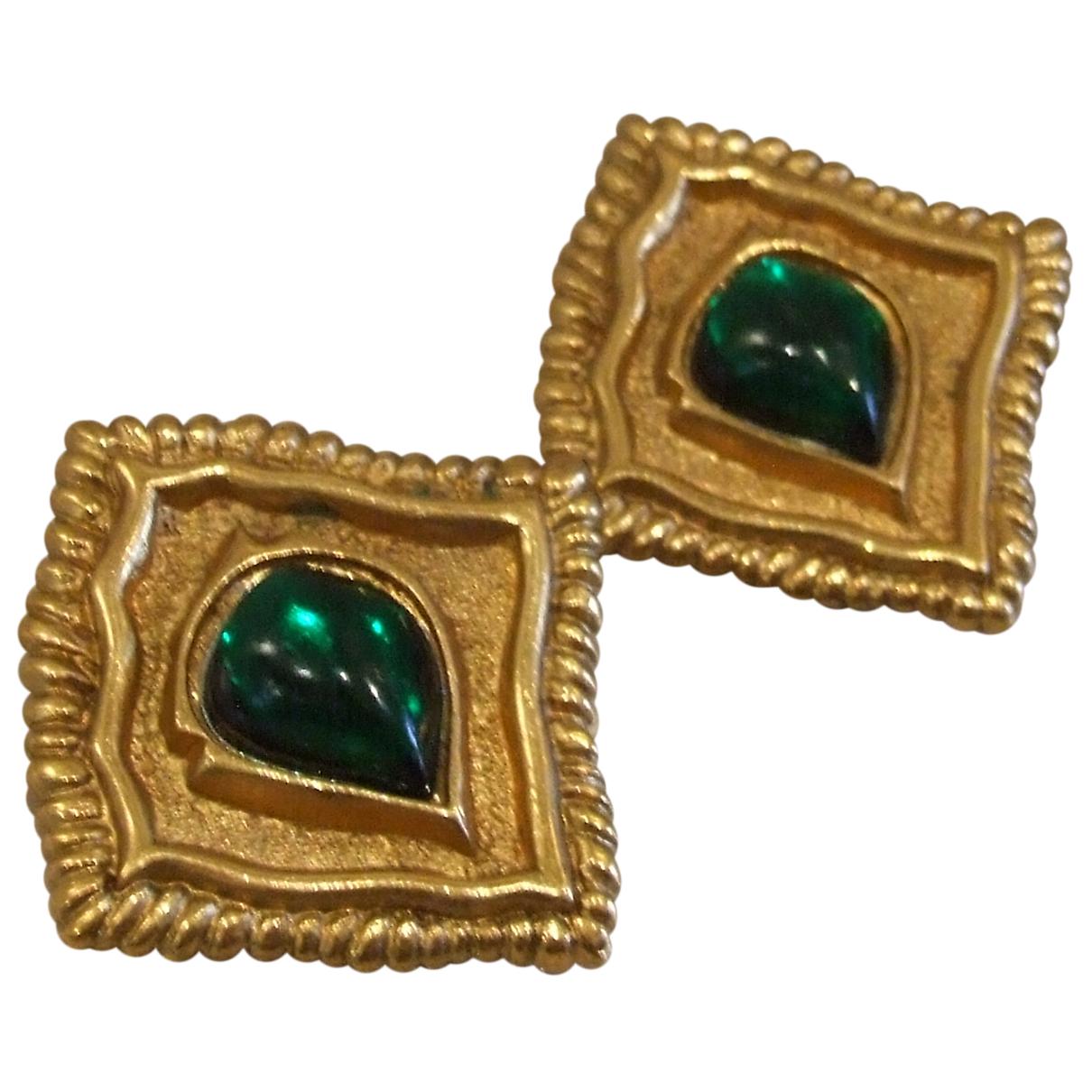 Jean-louis Scherrer - Boucles doreilles   pour femme en or et acier - vert